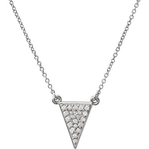 14K Gold Diamond Triangle Necklace