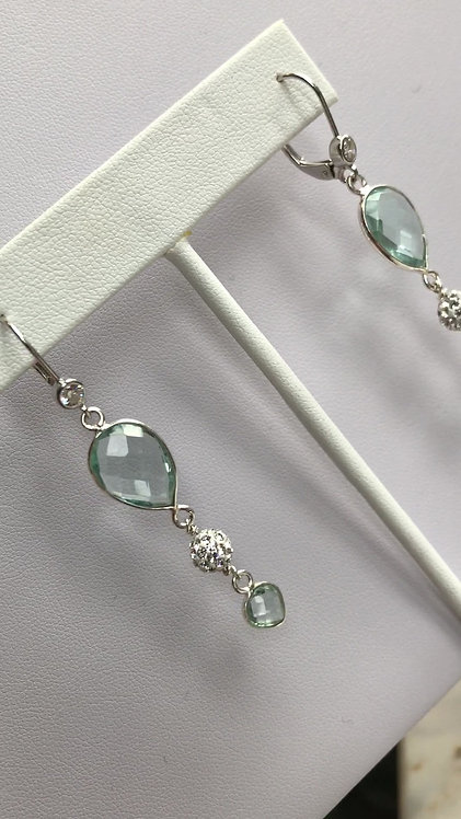 Aquamarine Long Dangle Earrings