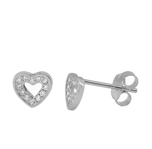 Silver Sparkly Heart Studs