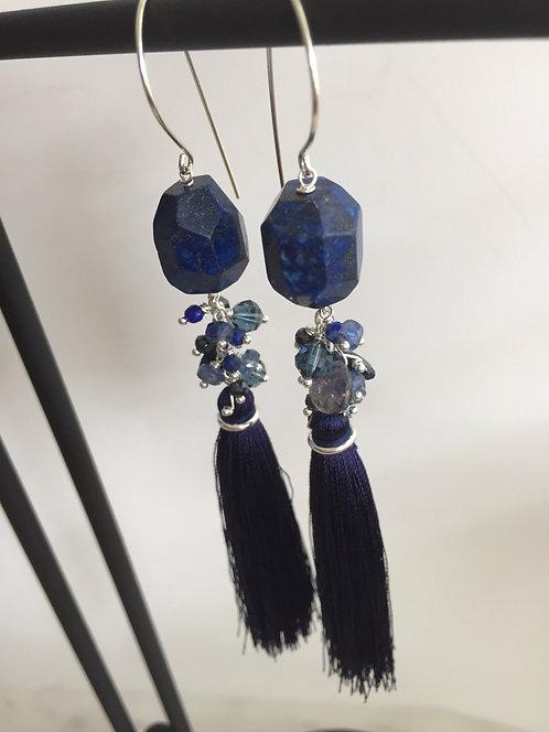 Tassel Earrings with Jumbo Bead and Gem Cluster