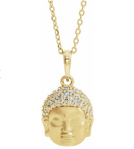 14k Gold Diamond Buddha Necklace