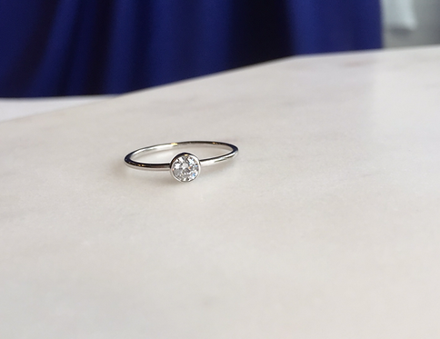 Solitaire Ring with Bezel Set Cubic