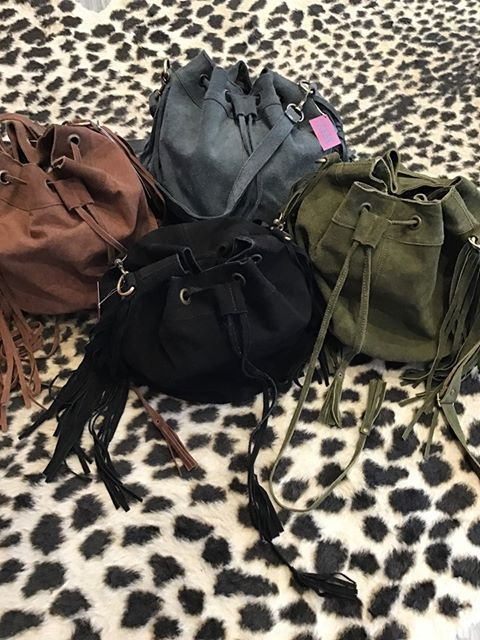 Genuine Suede Fringe Bucket Bag