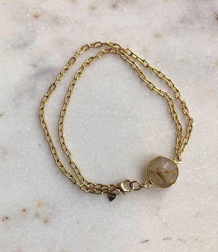 14k Gold Filled Doubled Paperclip Chain with Gold Rutilated Quartz