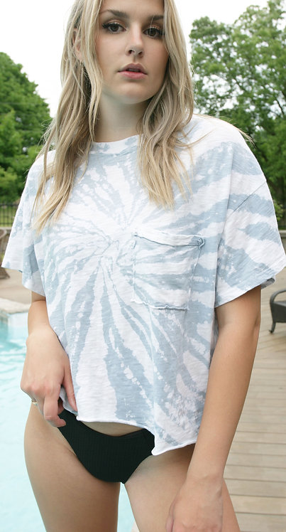 Distressed Tie Dye Oversized T with Pocket