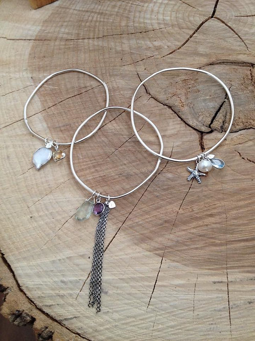 Organic Bangle with Charm Dangles