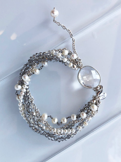 Multi-strand Bracelet with Crystal and Pearls