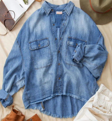 Denim Wash Button-up with Dolman Sleeve and Raw Hem