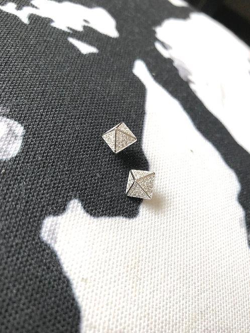 Silver Sparkly Pyramid Studs