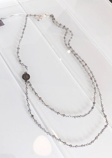 Asymmetrical Gem-tied Labradorite and Diamond Pave Disc