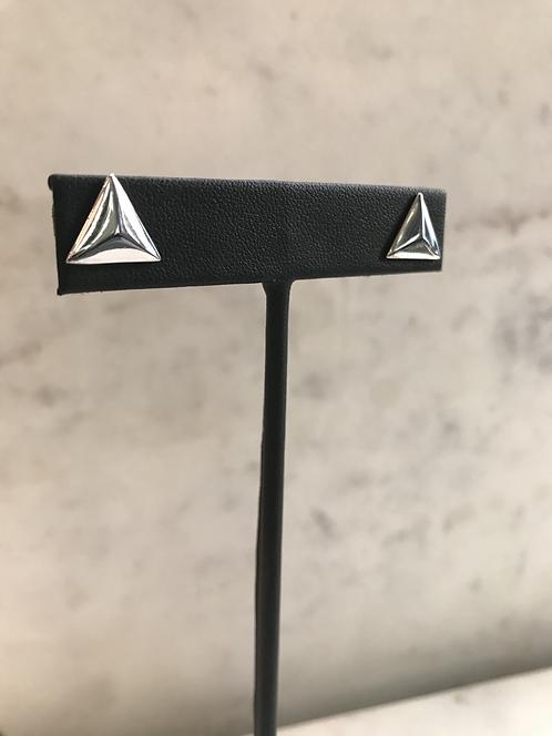 Silver Chunky Triangle Studs
