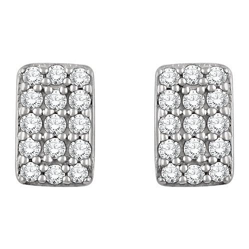 14k Gold Rectangular Diamond Stud Earrings