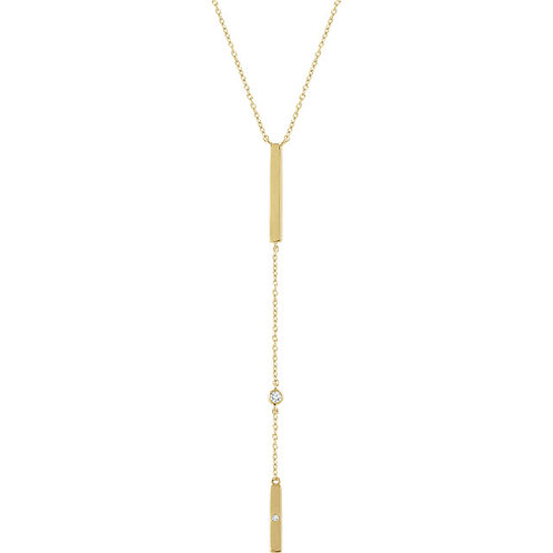 14k Gold Bar with Diamond Accent Lariat