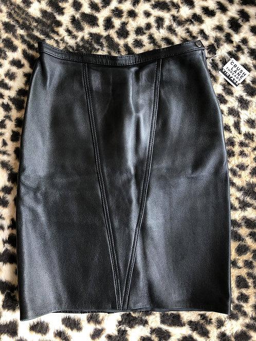 'V' Leather Pencil Skirt