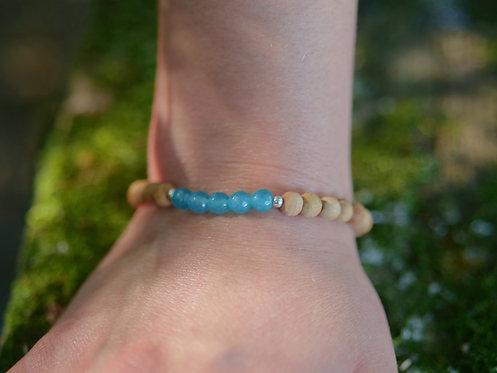 Aqua Jade & Sandalwood Bracelet