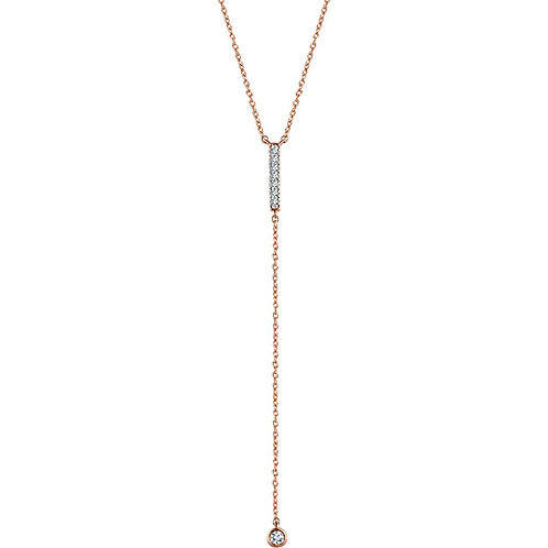 14K Gold Diamond Bar Lariat