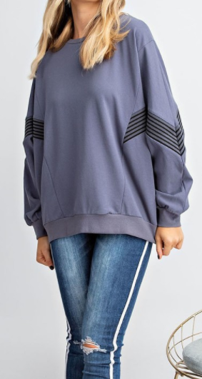 Boxy Terry Knit Sweater with Chevron Detail
