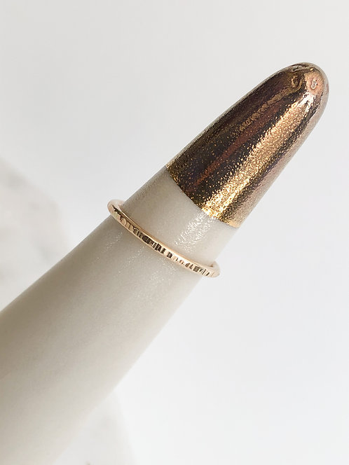 14k Yellow Gold Filled Line Texture Ring