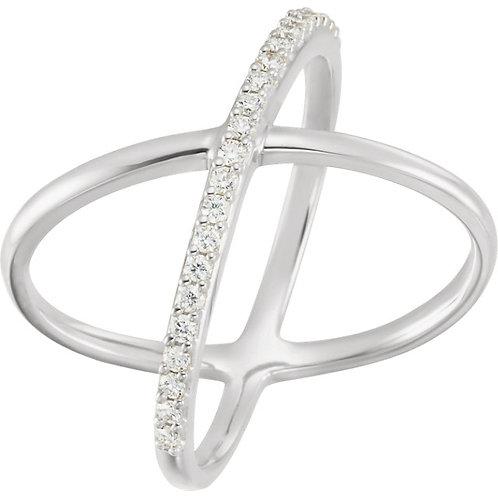 14K Gold Diamond Criss Cross Ring