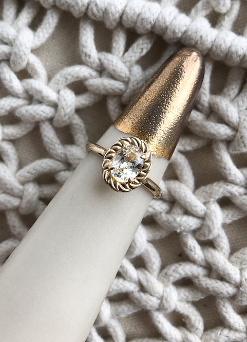 14k Yellow Gold White Sapphire with Decorative Halo