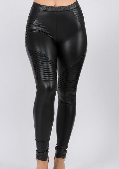 Fleece Lined Black Faux Leather Moto Leggings