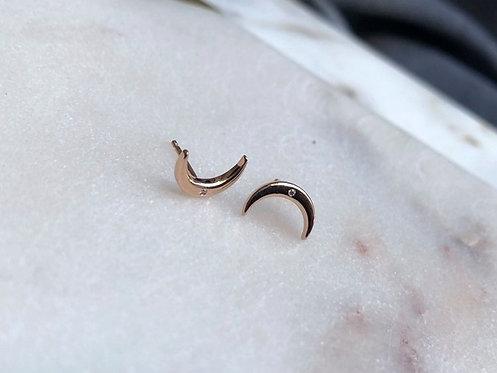 14K Gold Diamond Crescent Stud Earrings