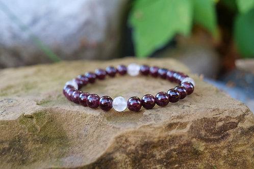 Garnet & Rose Quartz Bracelet