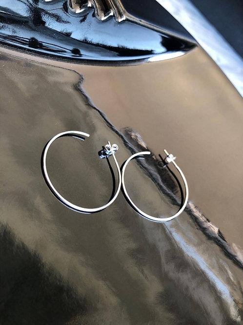Silver Dainty Open Back Hoops