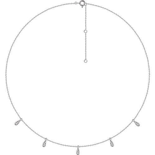14K Multi Teardrop Charm Diamond Necklace
