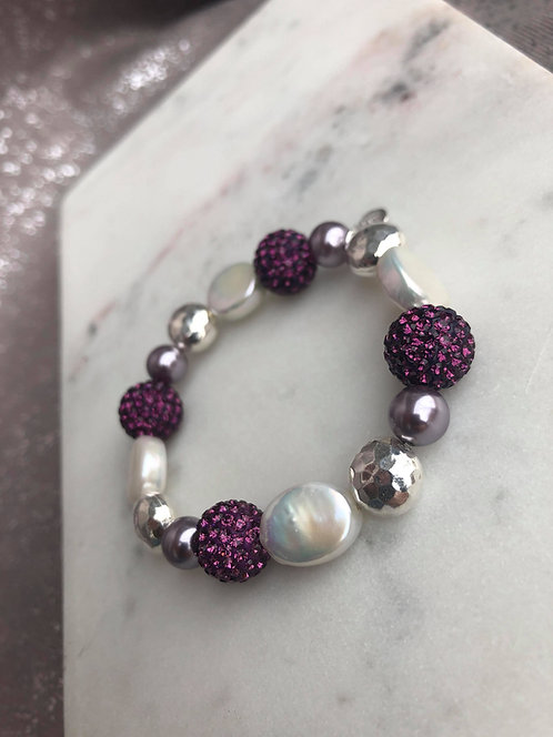 Multi Bead Expandable Bracelet with Plum Crystal Beads