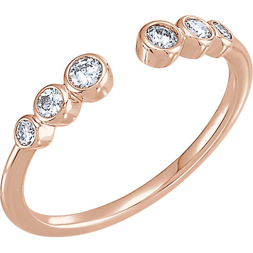 14k Gold Multi Bezel Set Diamond Ring with Open Top