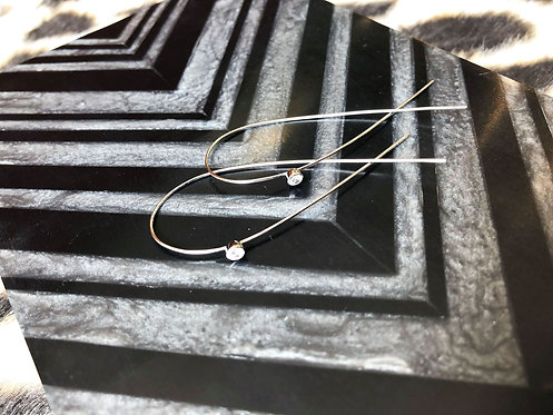 Crossover Hook Earrings with Cubic
