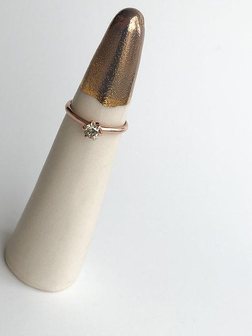 14k Rose Gold Champagne Diamond Ring