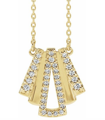 14k Gold Diamond Art Deco Necklace