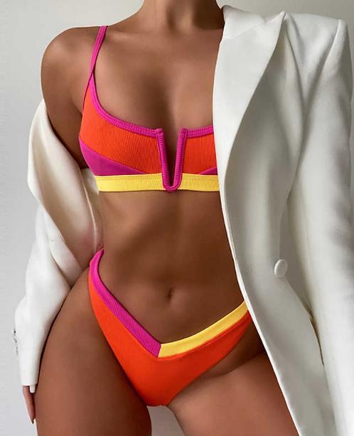 Ribbed Colour Block Bikini