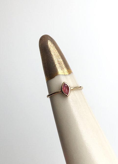 14k Yellow Gold Bezelled Pink Sapphire Ring