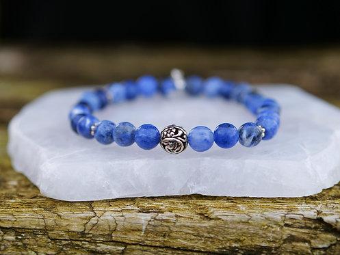 Sodalite Flower Bead Bracelet