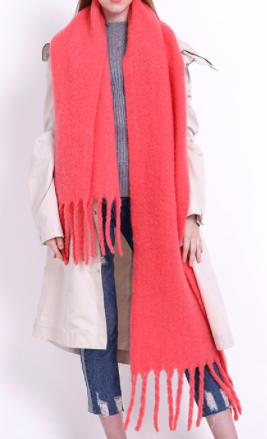 Chunky Solid Colour Scarf with Tassel