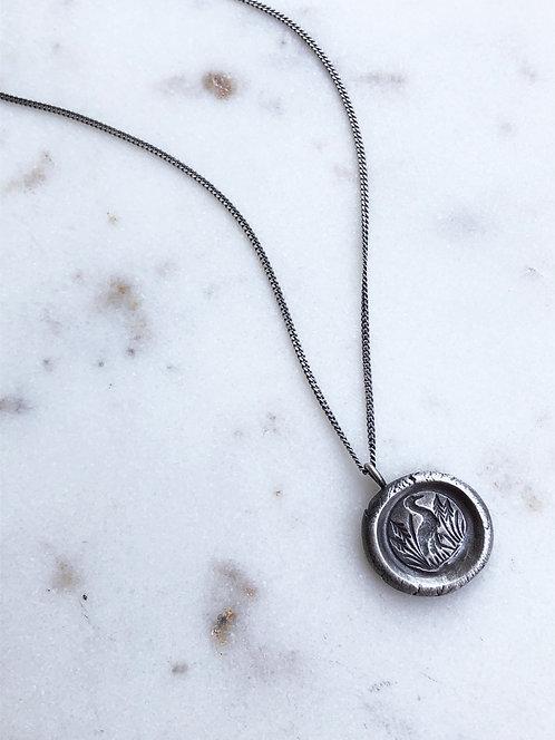 Fine Silver 'Crane' Medallion Pendant