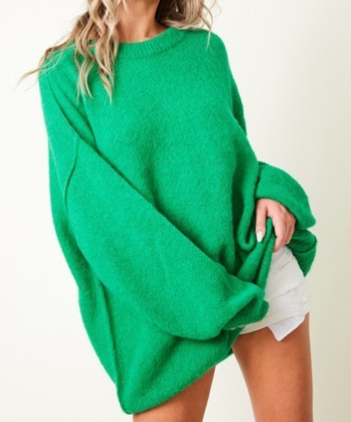 Electric Green Slouchy Crew Neck Sweater