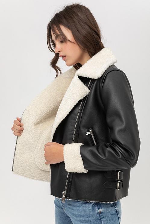 Black Vegan Leather with Sherpa Aviator Jacket