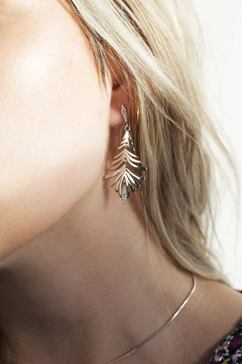 Silver Peacock Feather Dangle Earrings