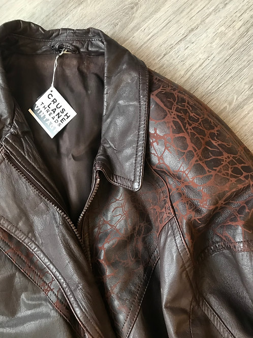 Chocolate Leather '80s Bomber