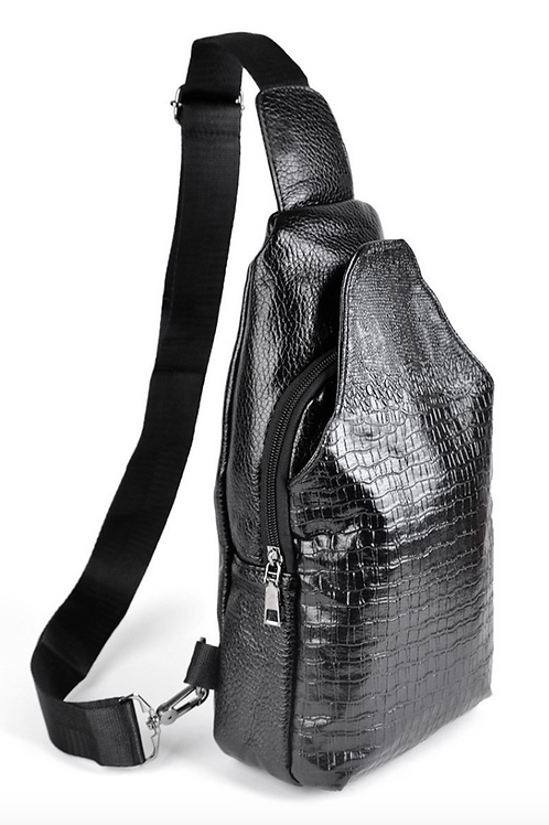 Black Embossed Crocodile Vegan Leather Cross Body Sling Backpack