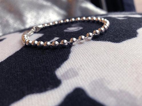 Silver Chunky Bead Chain Bracelet