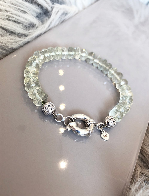 Green Amethyst Rondelle Bracelet with Chunky Anchor Clasp