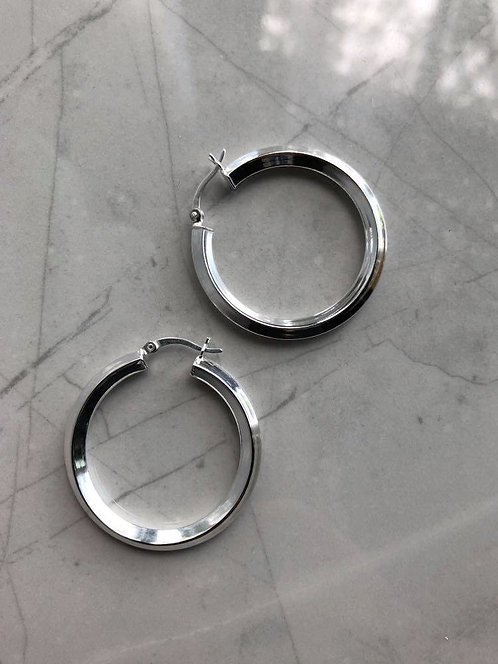 Silver Squared Hoops