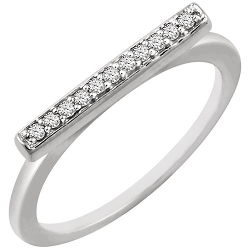 14k Gold Bar with Diamonds Ring