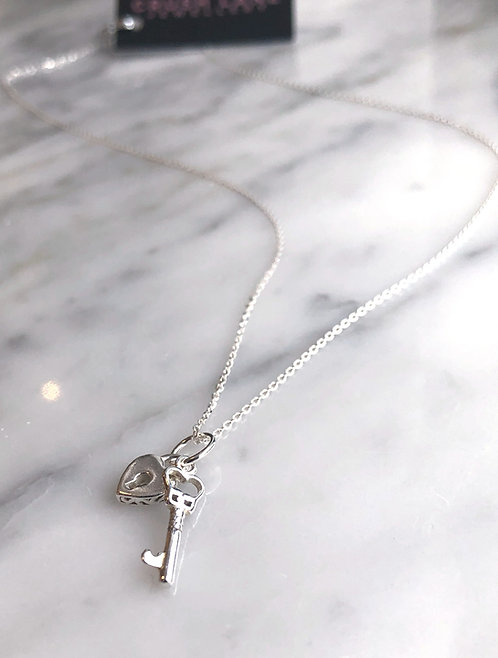Silver Mini Lock and Key Necklace