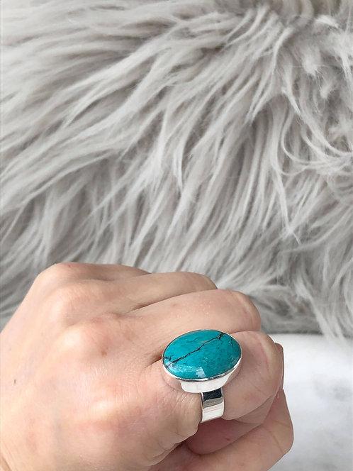 Oval Turquoise Bezel Set Ring
